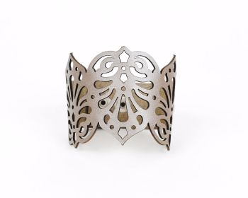 "Laser cut leather cuff ""Teardrops"" in Brass, Metallic Grey or Metallic beige/Pewter"