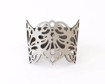 """Laser cut leather cuff """"Teardrops"""" in Silver or Metallic beige/Pewter"""