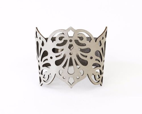 Laser cut leather cuff