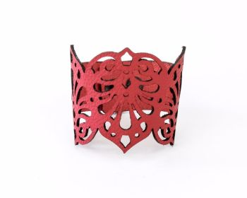 "Laser Cut Leather Cuff ""Teardrops"" In Red or Blue"