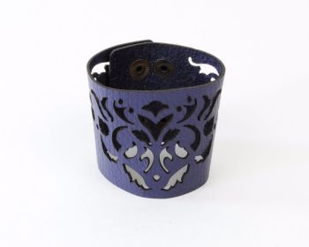 "Laser Cut Leather Cuff - ""Dancing leaves"" design in Purple or Red"