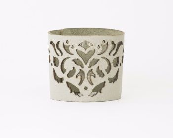 "Laser Cut Leather Cuff - ""Dancing leaves"" design in Metallic Beige, Beige or Metallic grey"