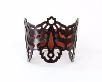 "Laser Cut Leather Cuff - ""Falling Leaves"" in Black or Brown"