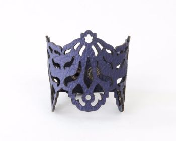 "Laser Cut Leather Cuff - ""Falling Leaves"" design in Silver or Purple"