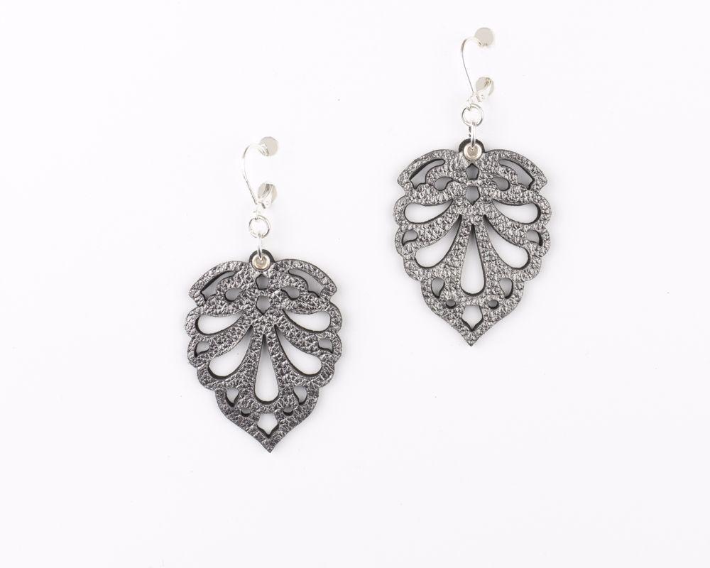 Laser cut leather earrings