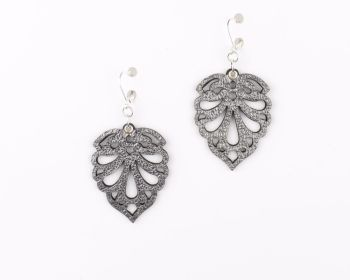 "Laser cut leather earrings ""Hearts"" Design in Metallic Colours"