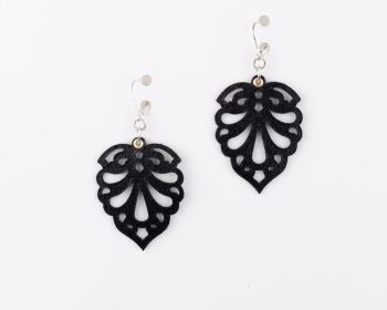 "Laser Cut Leather Earrings- ""Hearts"" in Black, White, Dark Burgundy, Brown,Cream or Dark Brown"