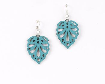"Laser Cut Leather Earrings- ""Hearts"" in Red, Turquoise or Purple"