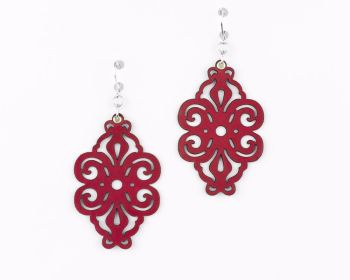 "Laser Cut Leather Earrings ""Spirals"" in Red,Turquoise,White,Black,Dark Red or Purple"