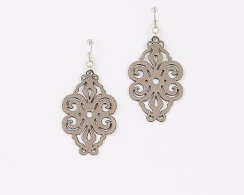 "Laser Cut Leather Earrings ""Spirals"" in Pewter or Silver"