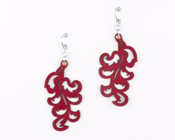 "Laser Cut Leather Earrings ""Victorian Leaf"" design in Purple,Blue,Red,Turquoise,Black or White"