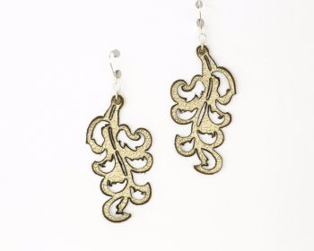 "Laser Cut Leather Earrings ""Victorian Leaf"" design in Gold,Silver and Pewter"
