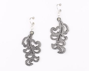 "Laser Cut Leather Earrings ""Victorian Leaf"" design in Platinum Gold,Silver and Pewter"
