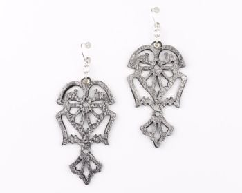 "Laser Cut Leather Earrings ""Angels"" in Gold,Silver and Pewter"