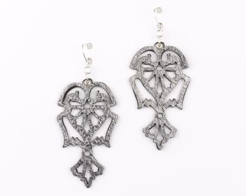 "Laser Cut Leather Earrings ""Angels"" in Platinum Gold,Silver and Pewter"