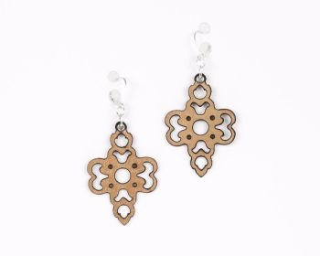 "Laser cut leather earrings ""Clover"" in Gold, Black, Pearl Blue, Pewter and White"