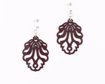 "Laser Cut Leather Earrings- ""Falling Leaves"" smaller version in Dark Red, Black, Dark brown, Pearl blue and Pewter"