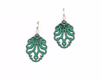 "Laser Cut Leather Earrings- ""Falling Leaves"" smaller version in  White, Red, Blue and Green"