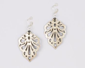 "Laser cut leather earrings ""Teardrops"" in Silver,Gold,Pewter and Metallic grey"