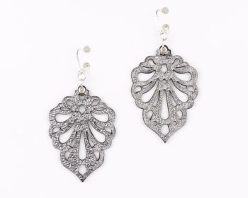 "Laser cut leather earrings ""Teardrops"" in Silver, Platinum Gold and Pewter"