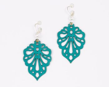 "Laser cut leather earrings ""Teardrops"" design in Red,Purple, Turquoise and White"