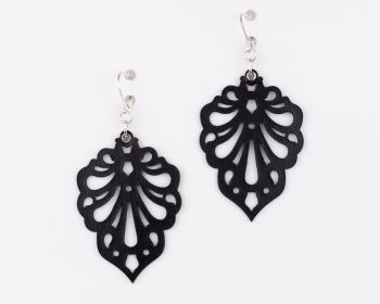 "Laser Cut Leather Earrings - ""Teardrops"" design in Black,Dark Red, Dark brown, Dark blue and Violet"