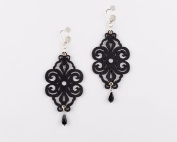 """Laser Cut Leather Earrings """"Spirals"""" with glass crystals"""