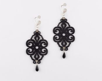 "Laser Cut Leather Earrings ""Spirals"" with Swarovski drop crystals"