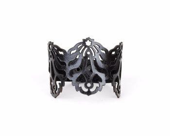 "Laser Cut Leather Bracelet ""Falling leaves"" Design in Black or Dark brown"