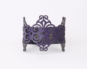 "Laser Cut Leather Bracelet ""Spirals"" in Turquoise, Purple or Black"