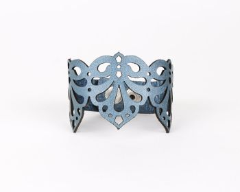 "Laser Cut Leather Bracelet ""Teardrops"" in Pearl Blue or Cream"