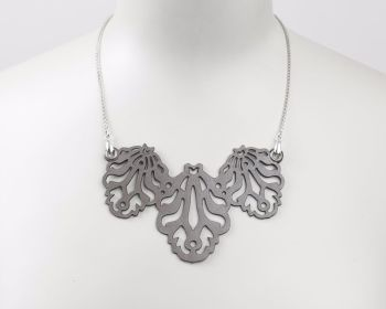 "Laser Cut Leather Necklace ""Falling leaves"" in Metallic beige-Pewter or Black"