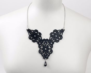 "Laser Cut Leather necklace ""Spirals"" in Black, White, Pewter or Turquoise"