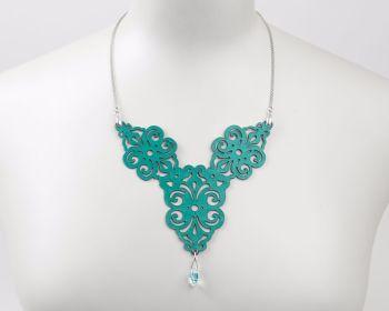 "Laser Cut Leather necklace ""Spirals"" Design"