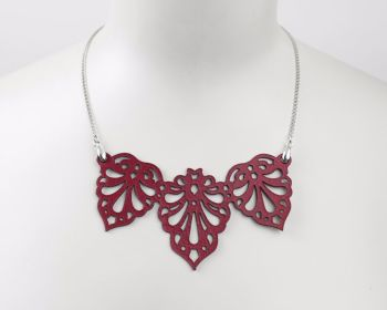 "Laser cut leather necklace ""Teardrops"" in Red, Turquoise, Black or White"