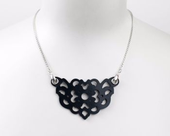 "Laser Cut Leather Necklace ""Clover"" in Black, Turquoise or White"