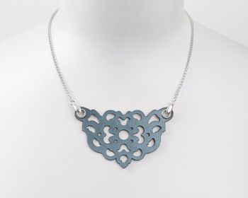 "Laser Cut Leather Necklace ""Clover"" in  Pewter, Pearl blue or Gold"
