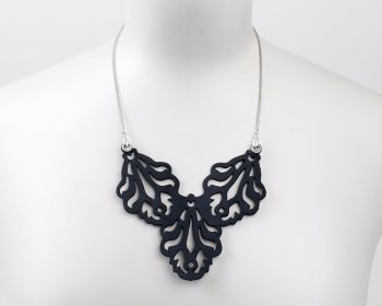"Laser Cut Leather Necklace ""Falling Leaves"" long version"