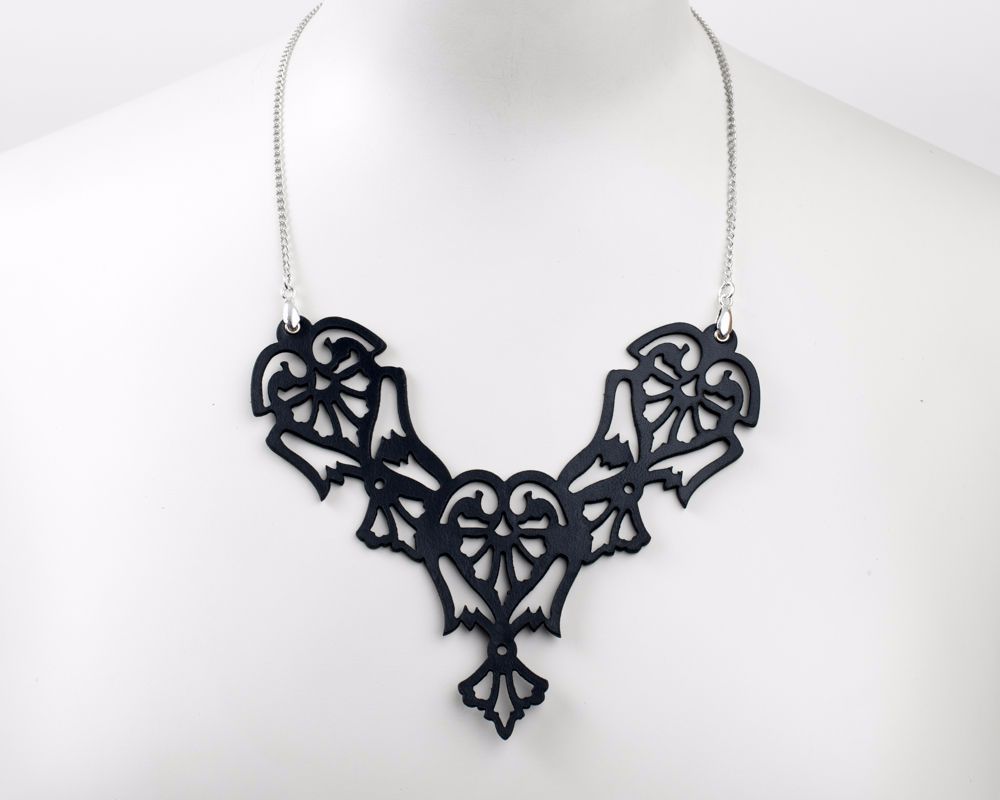 Lase Cut Leather necklace