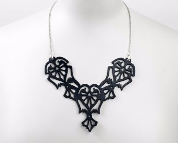 "Lase Cut Leather necklace ""Angels"" in Black, White, Turquoise or Pewter"