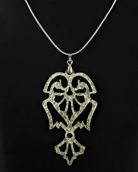 "Reversible Laser Cut Leather Pendant ""Angels"" in Platinum Gold/Black or Silver/Black"