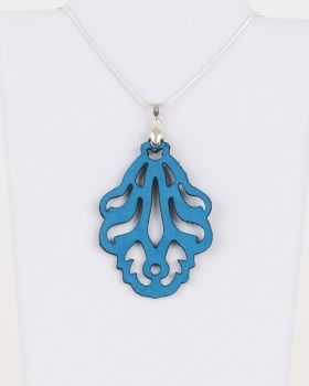 "Laser Cut Leather Pendant ""Falling Leaves""-big version"