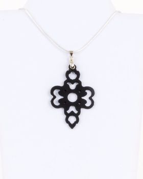 "Black Laser Cut Leather Pendant ""Clover"" Design"