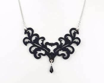 "Laser Cut Leather Necklace ""Victorian Leaf"" in Black or White"