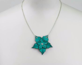 Leather Flower Necklace in Turquoise, White or Cream