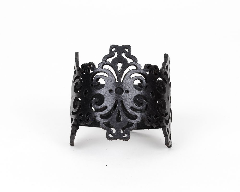 Laser Cut Leather Cuff  in Black