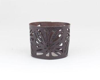 "Laser Cut Leather Cuff  in Black, Dark Brown or Dark green ""Abstract Flowers"" design"