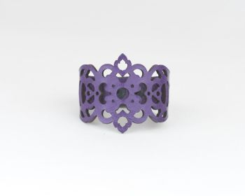 "Laser Cut Leather Bracelet -""Clover"" in Red,Turquoise or Purple"