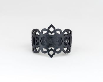 "Laser Cut Leather Bracelet -""Clover"" in Black"