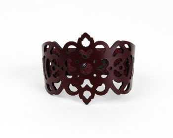 "Laser Cut Leather Bracelet ""Clover"" in Dark Purple, Dark chocolate and Dark Burgundy"
